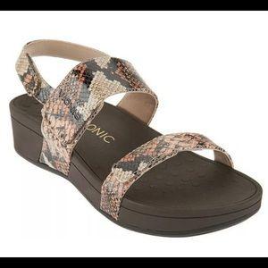 Vionic Bolinas Snake print platform sandals
